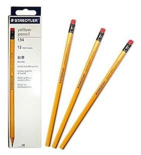 Staedtler Yellow Pencil 134 HB Hexagonal Pencils Eraser Head 12 Pcs