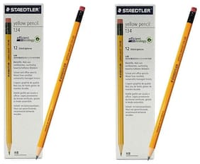 STAEDTLER YELLOW PENCIL WITH ERASER TIP HB DEGREE (PACK OF 24)