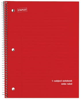 "Staples 1 Subject Poly Cover Notebook Wide Ruled 8"" x 10-1/2"" Red 964897"