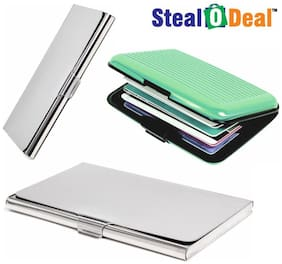 Stealodeal 2pc Silver Stainless Steel with Green Security Credit/Debit Card Holder