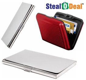 Stealodeal 2pc Silver Stainless Steel with Red Security Credit/Debit Card Holder