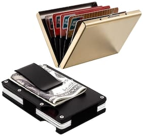 Stealodeal Black Metal Wallet Money Clip With Full Gold Limited Edition Card Holder