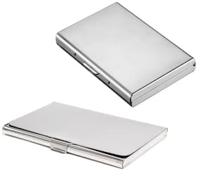 Stealodeal New Silver Metal Debit/Credit Atm With Slim Steel Card Holder