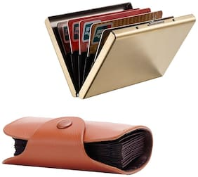 Stealodeal New Brown Leatherite High Quality Wallet With Full Gold Limited Edition Card Holder