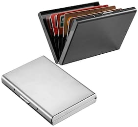 Stealodeal New Silver Metal Debit/Credit Atm With Full Black Limited Edition Card Holder