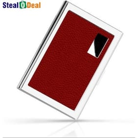 Card holders buy leather visiting wallet atm business card stealodeal red stainless steel pocket business credit debit card holder reheart Choice Image