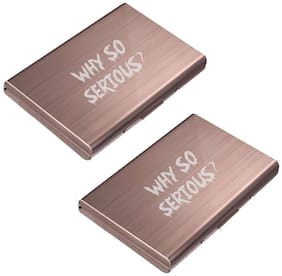 Stealodeal Rose Gold Trendy Waterproof Why So Serious ? Metal Atm (Pack of 2) Card Holder