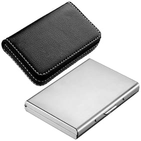 Stealodeal Silver High Quality Metal With Soft Black Leather Wallet Card Holder