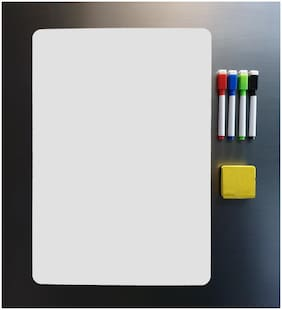 Store2508  Magnetic White Board Sheet (43 * 30 cm) - Dry Erase. Includes 4 Markers & One Duster. Can Be Stuck on Refrigerator or Any Metal Surface