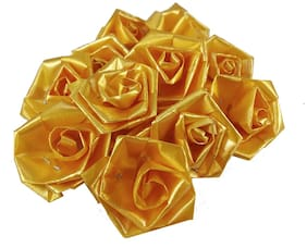 Stylewell 50 g (Yellow Color) Artificial Handmade Plastic Paper Rose Flowers For Diy Craft/Bouquet Making/Material/Wedding/Party Hall/Card Decorations & Gift Packing/Wrappings (Approxly 90 pcs)