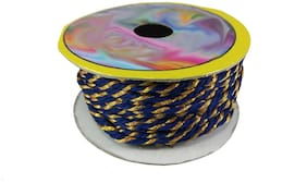 Stylewell (Blue & Gold) Color 18 Mtr. Resham Zari Twisted Thread/Dori Lace For Sewing;Embroidery/Bead Art Making Scrap Booking/Handicrafts & Craft Diy Project