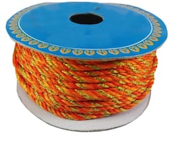 Stylewell (Orange & Gold) Color 18 Mtr. Resham Zari Twisted Thread/Dori Lace For Sewing Making Scrap Booking;Handicrafts & Craft Diy Project