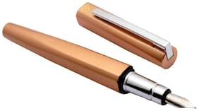 Stylish Exception Fountain Pen Square Shape Body With Flexible Chrome Clip - Orange b