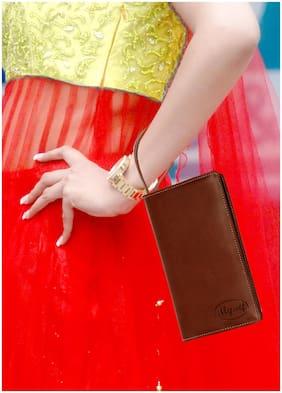 Sukeshcraft Rfid Safe Zipper Safe 1 Passport 13 Cards Pen Drive Holder-pu-Brown