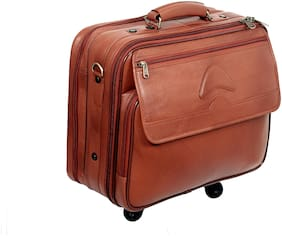 Sukeshcraft Real Leather Briefcase Suitcase Laptop Bag on Wheel Telescopic Handle (Tan)