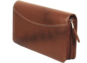 Sukeshcraft Leather Multiple Cheque Book Holder and Card Holder 26 Slots (Twotone Tan)