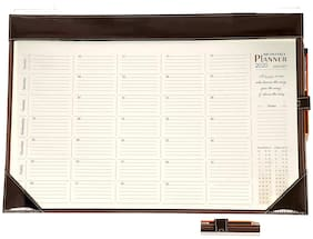 Sukeshcraft DESKTOP PLANNER For 2020 Month At a Glance Brown-Size 15.3 x 22.2 Inch.
