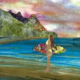 Surfer Girl Fabric Panel Beach Babe Pastel Watercolor Sunset Quilt Square Hawaii