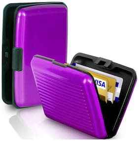 Tech Gear Waterproof Aluminum Metal Case Business ID Credit Card Holder Purple