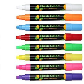Techzere  Liquid Chalk Markers, Fluorescent Neon Chalkboard Marker Pens for Glass, LED Writing Boards Etc (Pack of 8)