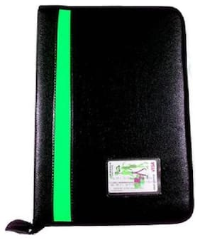 TEP Black Executive File Document Folder Portfolio Folder-20 Leaves-Green Stripe