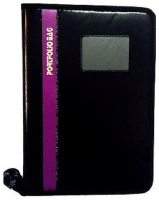 TEP Faux Leather Portfolio Document File Folder With Purple Bold Line 20 Strips ( Set of 1)