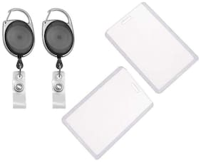 TEP I.D. Card Retractable Holder Badge Yo Yo Clip + Vertical Card Holder [Pack Of 2]