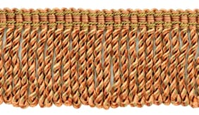 "Terra Cotta 3"" Bullion Fringe with Fancy Woven Header [18 Yards]"