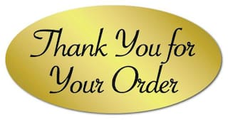 """""""Thank You for Your Order"""" Oval Stickers 2"""" x 1"""", Roll of 500 Seals"""
