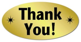 """Thank You"" Oval Stickers 2"" x 1"", Roll of 100 Stickers"