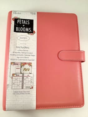 The Paper Studios, Agenda 52, Planner Petals & Blooms CORAL 6 Ring Binder Cover