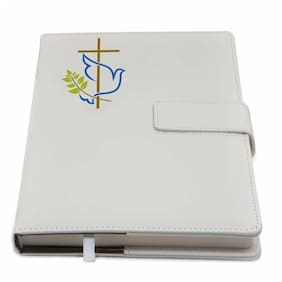 The Peace Dove & Cross Refillable Writing Journal Faux Leather Cover, Magnetic