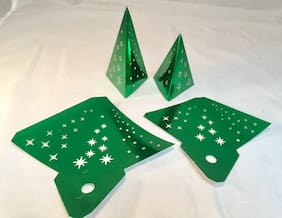 Tim Holtz Holiday Die Cuts * Shiny Green Metallic Tree Lights * Set of 4! New!!