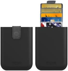 Tizum Z26 Ultra Slim Anti Theft RFID Credit Card Wallet case with Smart Pocket (Black)