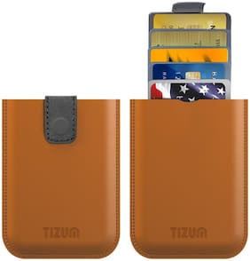Tizum Z26 Ultra Slim Anti Theft RFID Credit Card Wallet case with Smart Pocket (Tan Brown)