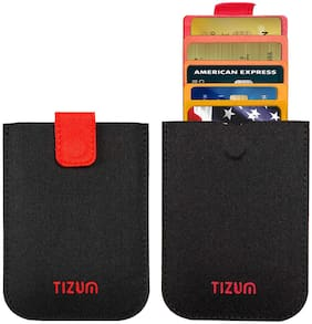 Tizum Z27 Ultra Slim Anti Theft RFID Credit Card Wallet case with Smart Pocket (Black)