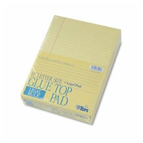 "Tops 7522 Gum Top Pad - 50 Sheet - 16lb - Legal Ruled - Letter 8.5"" X 11"" - 12 /"