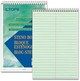 "TOPS Products Steno Book Gregg Rule 80Sheets/PD 6""X9"" 12/PK GN Tint 8021DZ"
