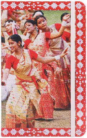 Toshakhana 219 Note Book with Elastic Closure Bihu Dance & Kareng Ghar Assam India