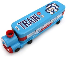 Toys League  Sky Blue Metallic Train pencil box with inbuilt Sharpener