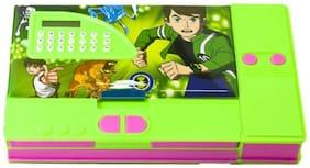 Toyvala Ben Ten Calculater Green jumbo Art Plastic Pencil Box