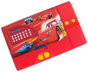 Toyvala Red Car Calculater pencil box big Art Plastic Pencil Box