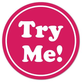 """TRY ME White on Pink 0.75"""" Dia. Circle Stickers, Roll of 50 Labels"""