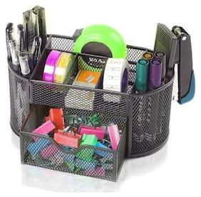 Tuelip 7 Compartments Metal Mesh Multi-Purpose Desktop Organizer Pen Stand Black  (Black)