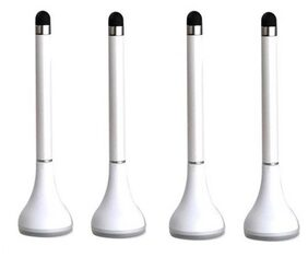 Tuelip Plungee 3 In 1 Pen With Stylus & Cleaner Pack of 4 (White)