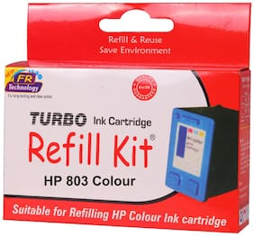 Turbo refill kit for hp 803 color ink cartridge