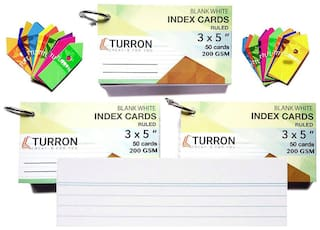 Turron Set of 3, Ruled Big 3 x 5 inch Ringed (Detachable) Blank White Index  Flash Cards (50 Cards per Set, 200 GSM) for Short Notes with Free