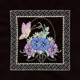 Twelve Embroidered Quilt Blocks - FRAMED BUTTERFLY FLORALS ON BLACK KONA COTTON