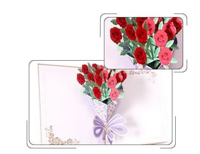 US!3D Pop Up Red Rose Valentine's Day Wedding Bouquet Flower Greeting Card Gift
