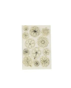 Vardhman Flower Design Clear Rubber Stamp for Textile, Block Printing, Card, Scrap Booking